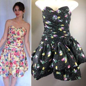 Vintage 1990s Strapless Prom Party Dress Plus XL